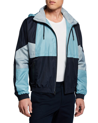 Men's Colorblocked Track Jacket w/ Packaway Hood