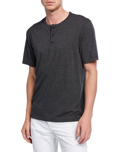 Men's Short-Sleeve Feeder Stripe Henley Shirt