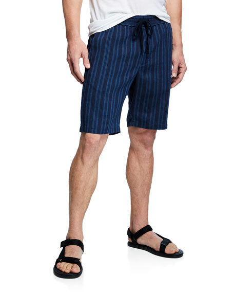 Vince Men's Striped Hemp Pull-On Shorts