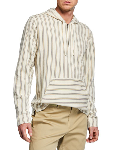 Men's Striped Half-Zip Hoodie