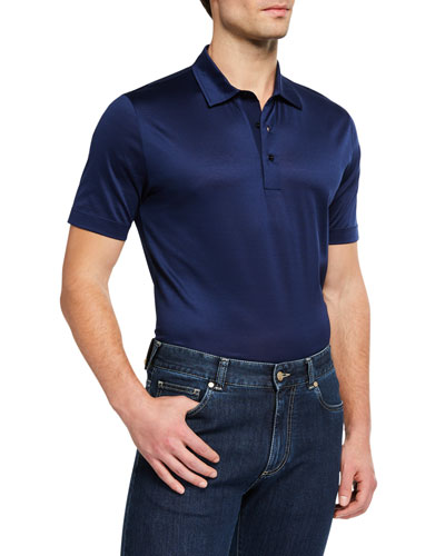 5f366b044 Quick Look. Canali · Men's Mercerized Cotton Polo Shirt. Available in Blue