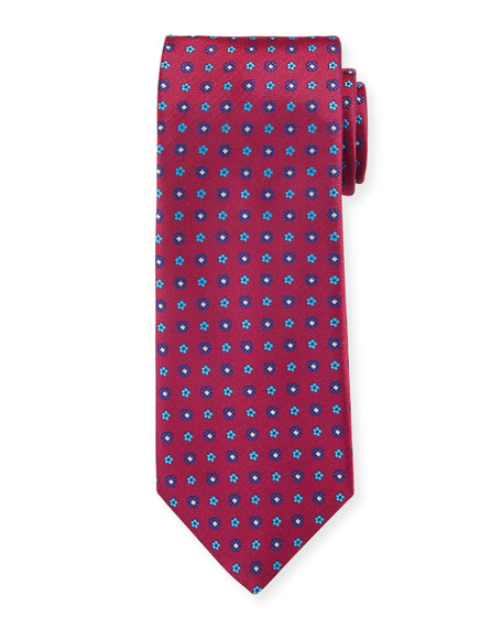 Canali Men's Woven Micro Flower Silk Tie, Red