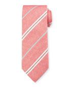 Canali Men's Warp-Stripe Silk Tie, Red/White