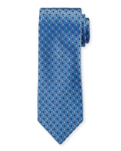 Men's 3D Diamonds Silk Tie, Blue