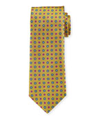 Canali Men's Woven Micro Flower Silk Tie, Gold