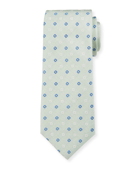 Canali Men's Alternating Flower Silk Tie, Mint Green