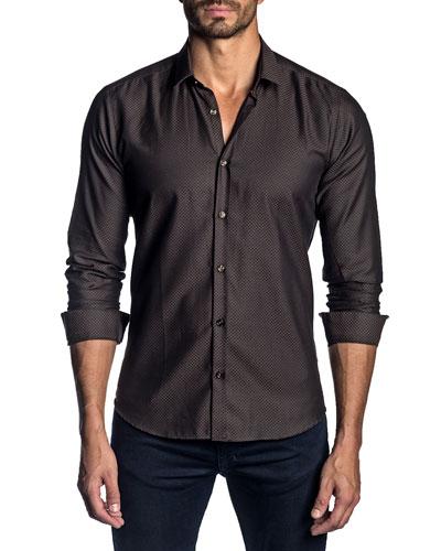 Men's Long-Sleeve Floral Print Sport Shirt