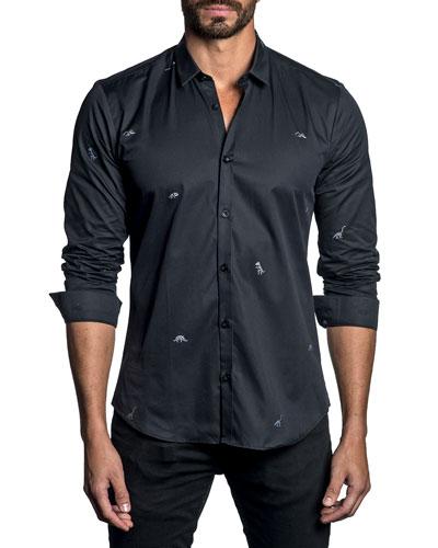 Men's Long-Sleeve Dinosaur Print Sport Shirt