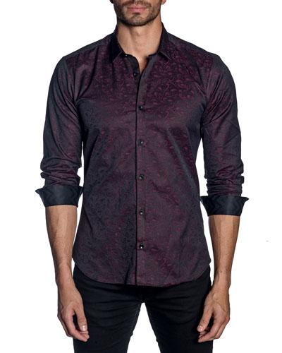 Men's Long-Sleeve Graphic Print Sport Shirt