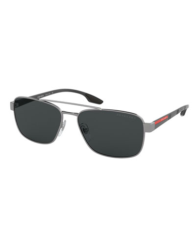 Men's 62mm Square Metal Aviator Sunglasses - Polarized