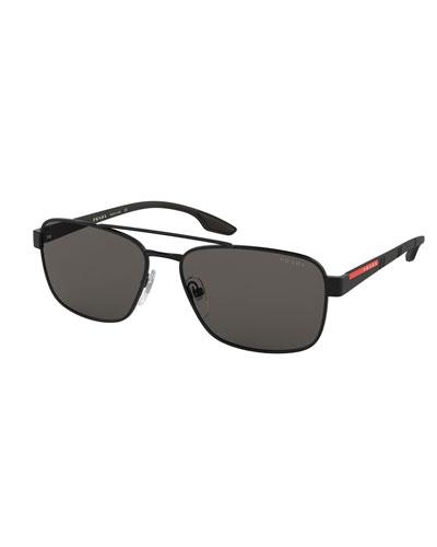 0b3ab9e12c53 Quick Look. Prada · Men's 59mm Square Metal Aviator Sunglasses. Available  in Black, Gray