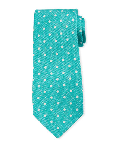 Linen-Look Dot Silk Tie, Mint