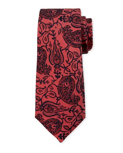 Paisley on Chevron Silk Tie, Red
