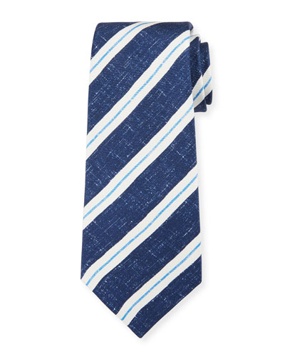 Men's Linen-Look Stripe Silk Tie, Navy