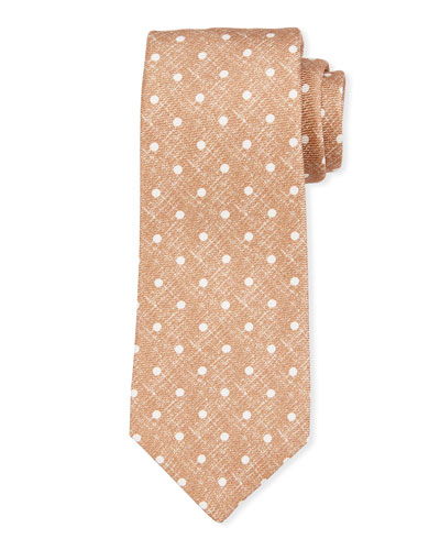 Linen-Look Dot Silk Tie, Beige
