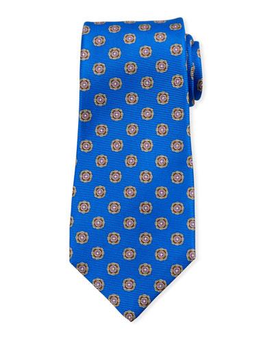 Round Medallion Silk Tie, Blue