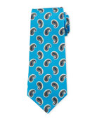 Kiton Large-Pine Silk Tie, Light Blue