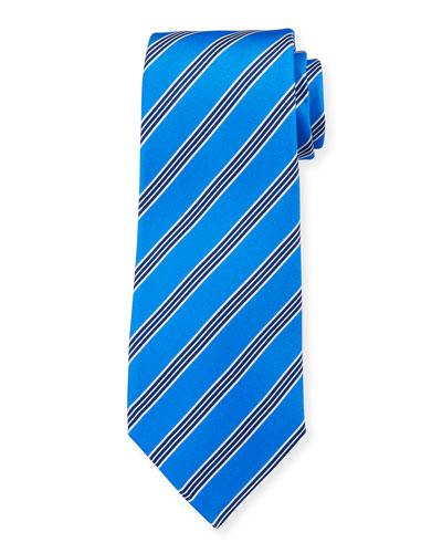Men's Triple-Stripe Silk Tie, Blue