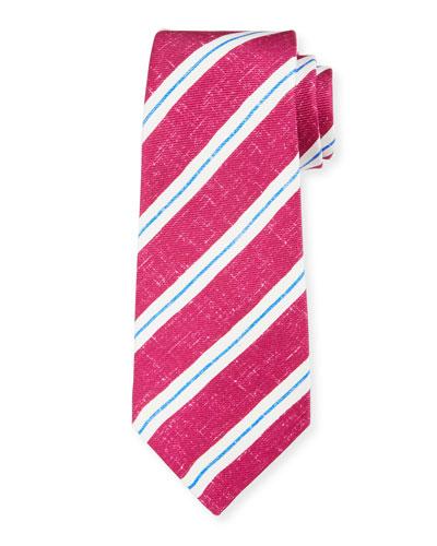Men's Linen-Look Stripe Silk Tie, Berry