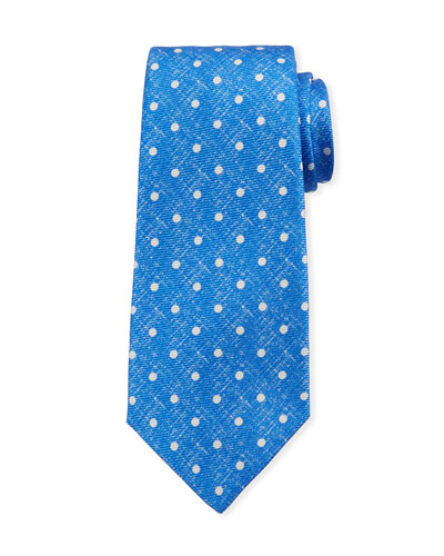 Linen-Look Dot Silk Tie, Blue