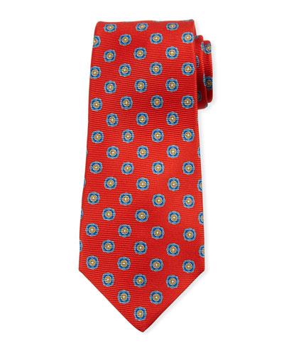 Round Medallion Silk Tie, Red