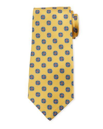 Round Medallion Silk Tie, Yellow