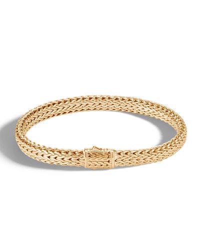 Men's Classic Chain 18k Gold Flat Bracelet, Size M