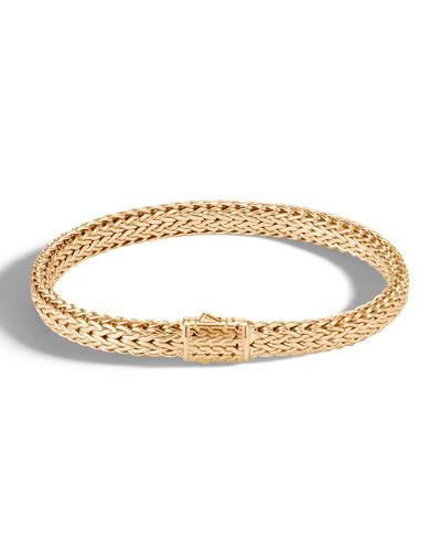 Men's Classic Chain 18k Gold Flat Bracelet, Size S