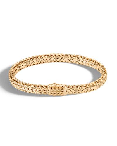 Men's Classic Chain 18k Gold Flat Bracelet, Size L
