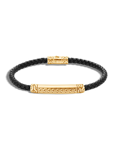 Men's Classic Chain 18k Gold & Leather Bracelet, Size M