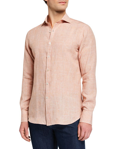 Men's Modern Fit Linen  Plaid Sport Shirt