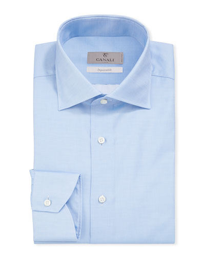 Men's Impeccabile Basic Twill Dress Shirt, Blue