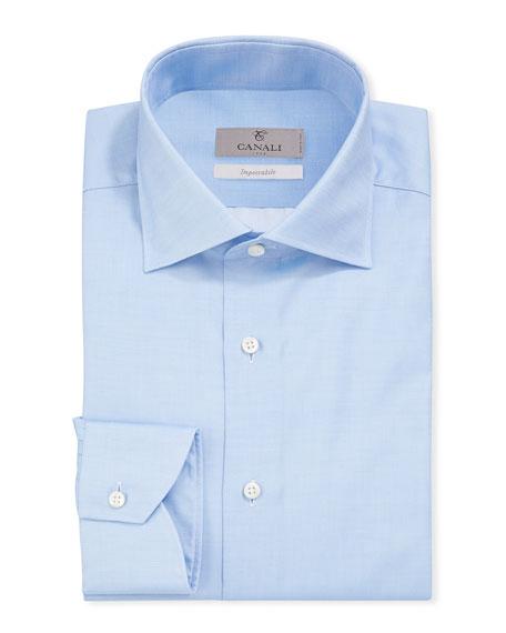 Canali Men's Impeccabile Basic Twill Dress Shirt, Blue