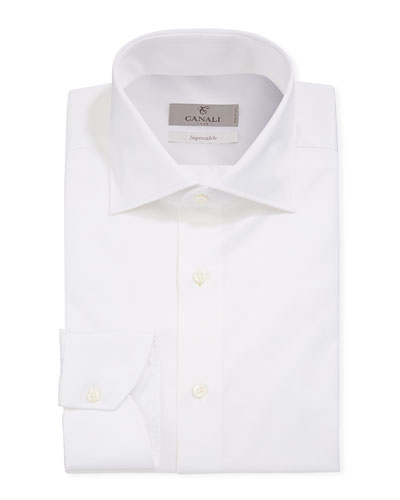 Men's Impeccabile Basic Twill Dress Shirt, White