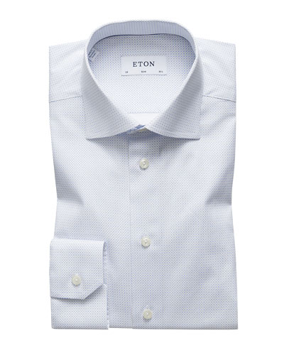 Men's Slim-Fit Micro-Pattern Dress Shirt