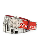 Versace Men's Tabloid-Print Medusa-Buckle Belt