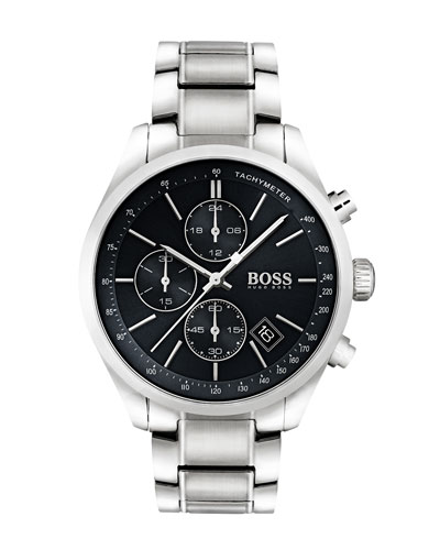 Men's Grand Prix Chronograph Watch with Bracelet, Black/Silver