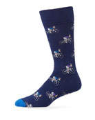 Paul Smith Men's Rabbit on Cycle Graphic Socks