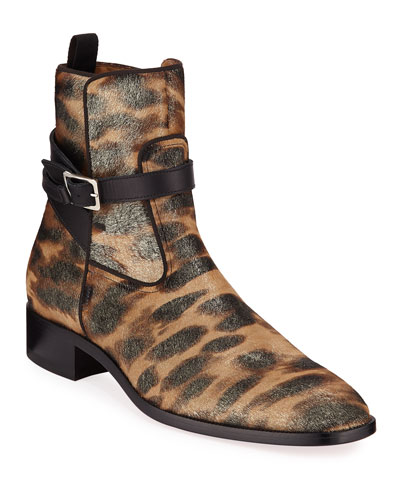Men's Kicko Leopard-Print Red Sole Boots