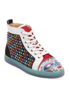 Christian Louboutin Men's Tribalouis Multicolor Spiked High-Top