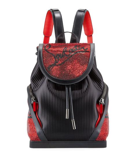Christian Louboutin Men's Explorafunk Embellished Pinstripe Backpack