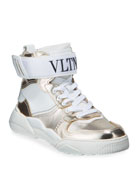 Valentino Garavani Men's High-Top Leather Sneakers w/ Grip-Strap