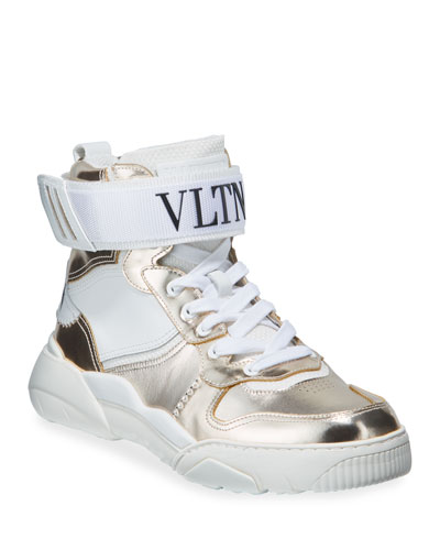 Men's High-Top Leather Sneakers w/ Grip-Strap Ankle
