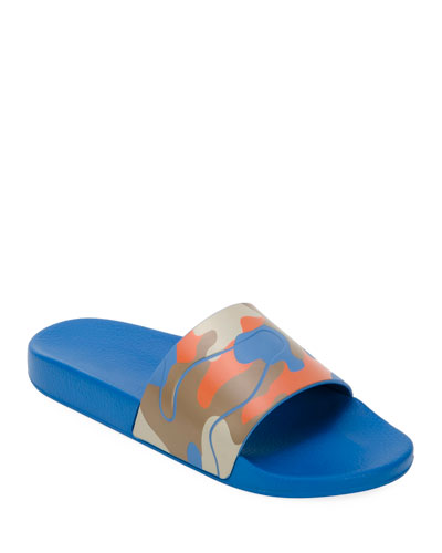 Men's Camo Slide Sandal, Orange Pattern