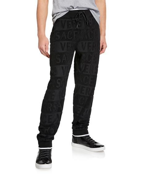 Versace Men's Tonal Logo Lounge Jogger Pants