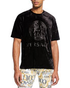 Versace Men's Logo-Embossed Velvet T-Shirt
