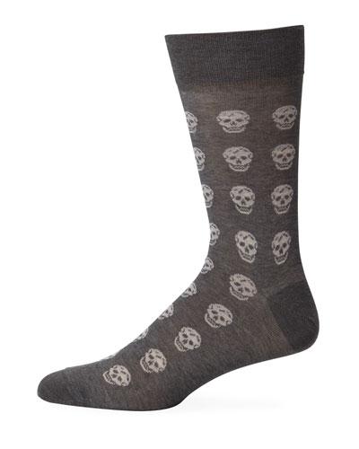 Men's Skull-Pattern Cotton Socks