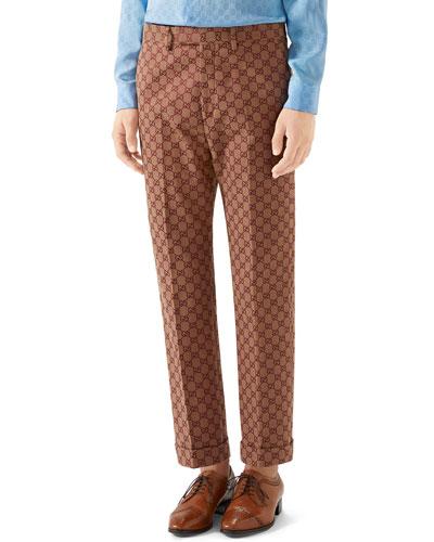 Men's GG Logo Slim-Fit Trousers