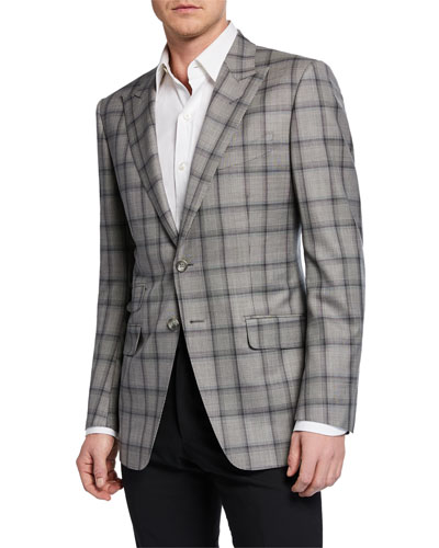 Men's O'Connor Peak-Collar Plaid Jacket