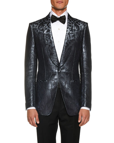 Men's Tonal-Print Satin Cocktail Dinner Jacket